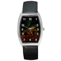 Abstract Glowing Edges Barrel Style Metal Watch