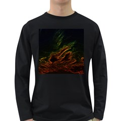 Abstract Glowing Edges Long Sleeve Dark T-Shirts