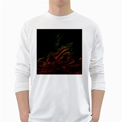 Abstract Glowing Edges White Long Sleeve T Shirts