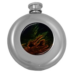 Abstract Glowing Edges Round Hip Flask (5 oz)