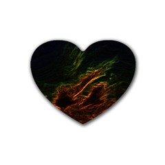 Abstract Glowing Edges Rubber Coaster (heart)