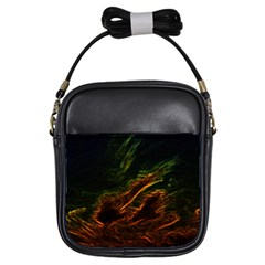 Abstract Glowing Edges Girls Sling Bags
