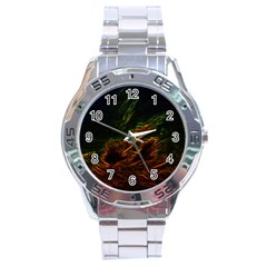 Abstract Glowing Edges Stainless Steel Analogue Watch