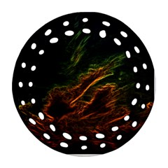 Abstract Glowing Edges Round Filigree Ornament (Two Sides)