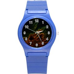 Abstract Glowing Edges Round Plastic Sport Watch (S)