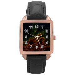 Abstract Glowing Edges Rose Gold Leather Watch