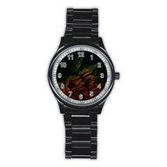 Abstract Glowing Edges Stainless Steel Round Watch