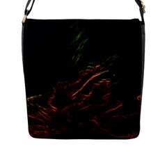 Abstract Glowing Edges Flap Messenger Bag (L)