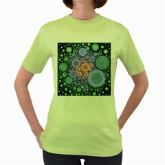 An Abstract Background Consisting Of Pastel Colored Circle Women s Green T Shirt