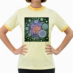 An Abstract Background Consisting Of Pastel Colored Circle Women s Fitted Ringer T Shirts