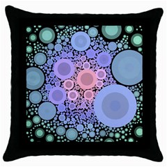 An Abstract Background Consisting Of Pastel Colored Circle Throw Pillow Case (Black)