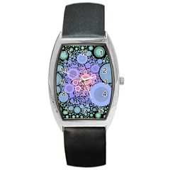 An Abstract Background Consisting Of Pastel Colored Circle Barrel Style Metal Watch
