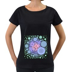 An Abstract Background Consisting Of Pastel Colored Circle Women s Loose-Fit T-Shirt (Black)