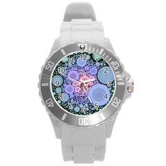 An Abstract Background Consisting Of Pastel Colored Circle Round Plastic Sport Watch (L)
