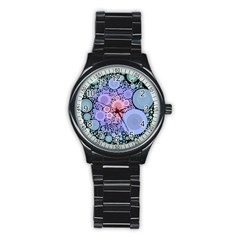 An Abstract Background Consisting Of Pastel Colored Circle Stainless Steel Round Watch