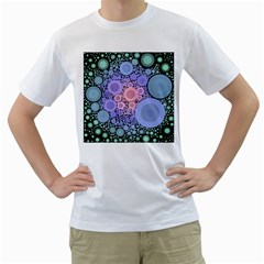An Abstract Background Consisting Of Pastel Colored Circle Men s T-Shirt (White) (Two Sided)