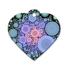 An Abstract Background Consisting Of Pastel Colored Circle Dog Tag Heart (two Sides)