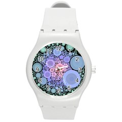 An Abstract Background Consisting Of Pastel Colored Circle Round Plastic Sport Watch (M)