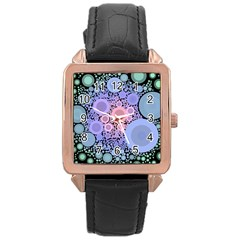 An Abstract Background Consisting Of Pastel Colored Circle Rose Gold Leather Watch