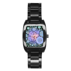 An Abstract Background Consisting Of Pastel Colored Circle Stainless Steel Barrel Watch