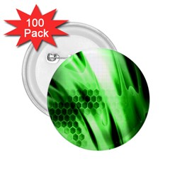 Abstract Background Green 2.25  Buttons (100 pack)