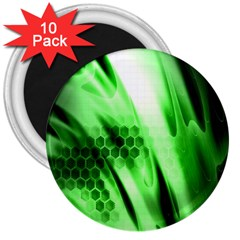 Abstract Background Green 3  Magnets (10 Pack)