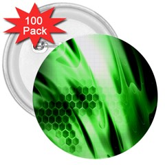 Abstract Background Green 3  Buttons (100 pack)