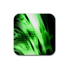 Abstract Background Green Rubber Square Coaster (4 pack)