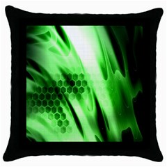 Abstract Background Green Throw Pillow Case (black)