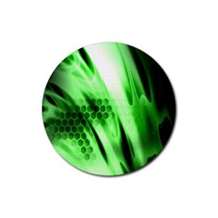 Abstract Background Green Rubber Round Coaster (4 pack)