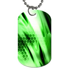 Abstract Background Green Dog Tag (one Side)