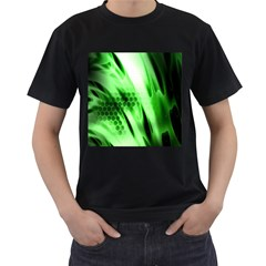 Abstract Background Green Men s T-Shirt (Black) (Two Sided)
