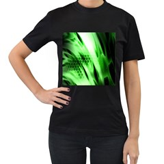 Abstract Background Green Women s T Shirt (black) (two Sided)