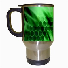 Abstract Background Green Travel Mugs (white)