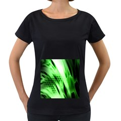 Abstract Background Green Women s Loose-Fit T-Shirt (Black)