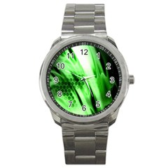 Abstract Background Green Sport Metal Watch