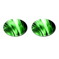 Abstract Background Green Cufflinks (oval)