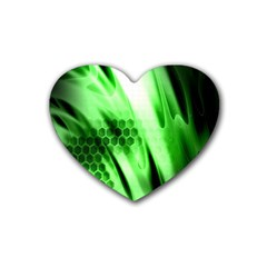 Abstract Background Green Heart Coaster (4 pack)