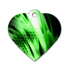 Abstract Background Green Dog Tag Heart (one Side)