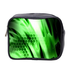 Abstract Background Green Mini Toiletries Bag 2 Side