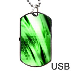 Abstract Background Green Dog Tag USB Flash (Two Sides)