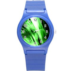 Abstract Background Green Round Plastic Sport Watch (S)