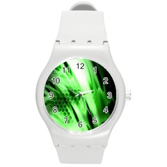 Abstract Background Green Round Plastic Sport Watch (M)