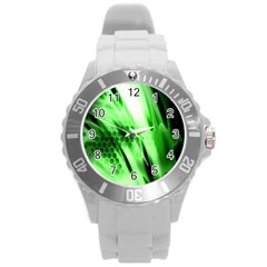 Abstract Background Green Round Plastic Sport Watch (L)