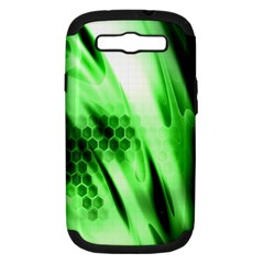 Abstract Background Green Samsung Galaxy S III Hardshell Case (PC+Silicone)
