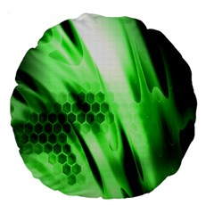 Abstract Background Green Large 18  Premium Round Cushions