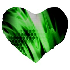 Abstract Background Green Large 19  Premium Heart Shape Cushions