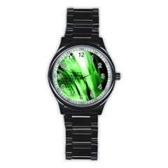 Abstract Background Green Stainless Steel Round Watch