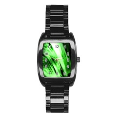 Abstract Background Green Stainless Steel Barrel Watch