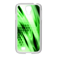 Abstract Background Green Samsung GALAXY S4 I9500/ I9505 Case (White)
